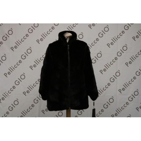 Mantella Visone Black Flana Con Zip
