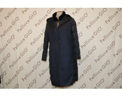 Cappotto In Piuma Cashmere Con Collo Visone blu