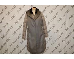 Cappotto In Piuma Cashmere Con Collo Visone beige